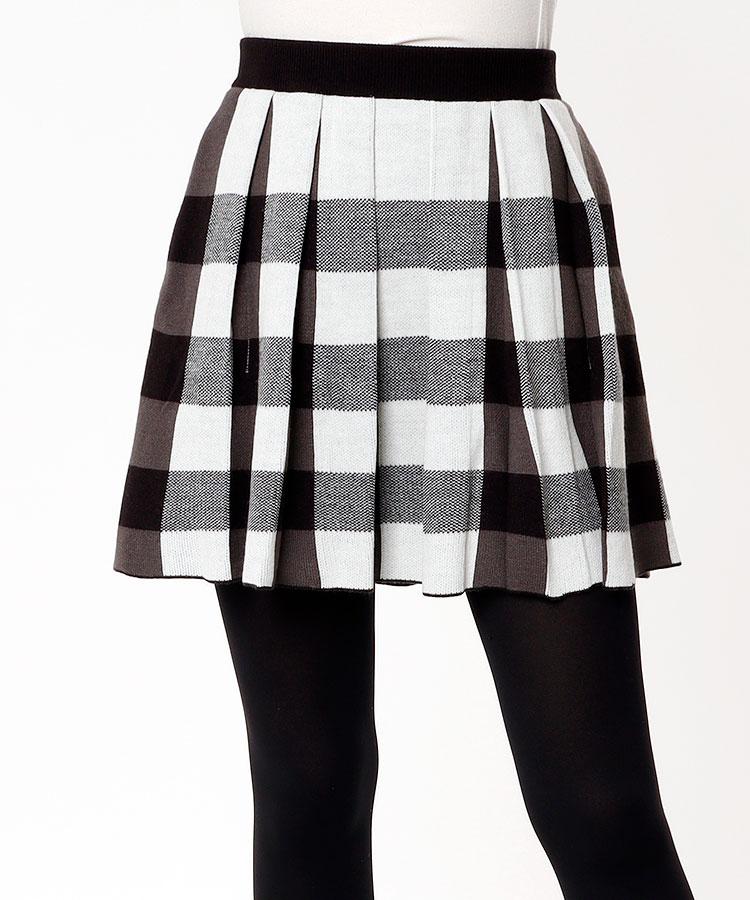 JR バッファローチェック★ペチ付きニットスカート