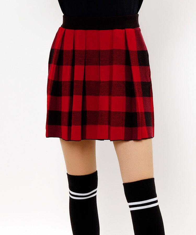 JR 【10/18まで限定タイムセール】バッファローチェック★ペチ付きニットスカート