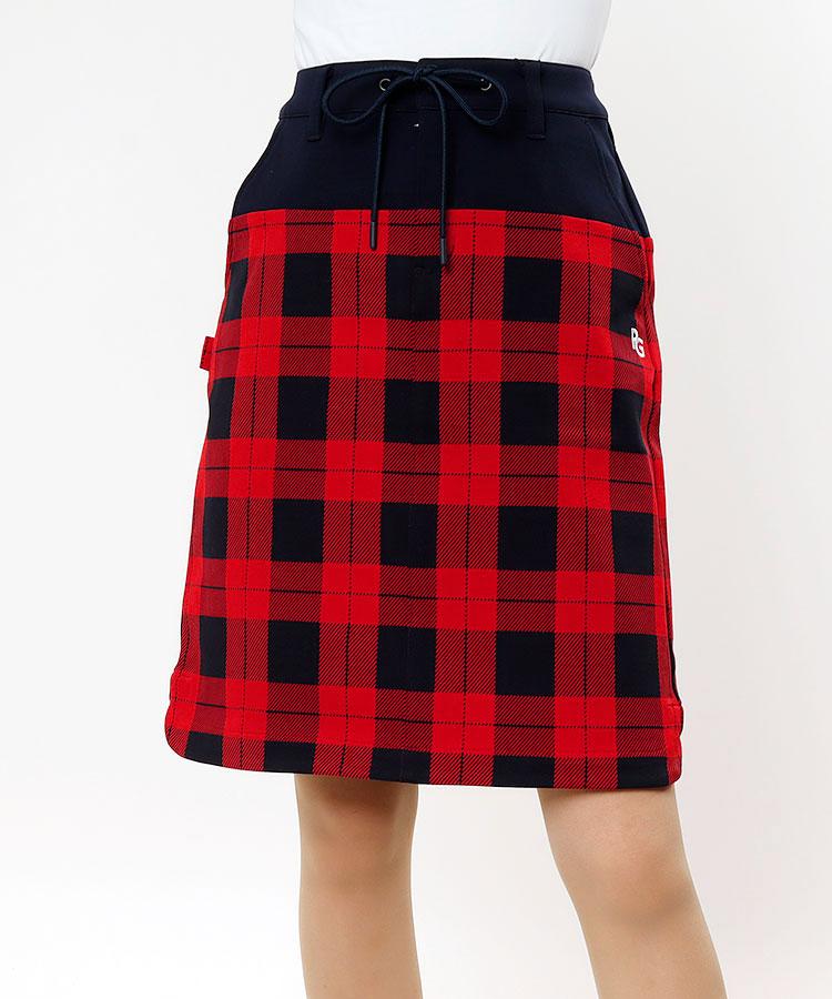 PG BACKロゴ刺繍★チェック柄スカート