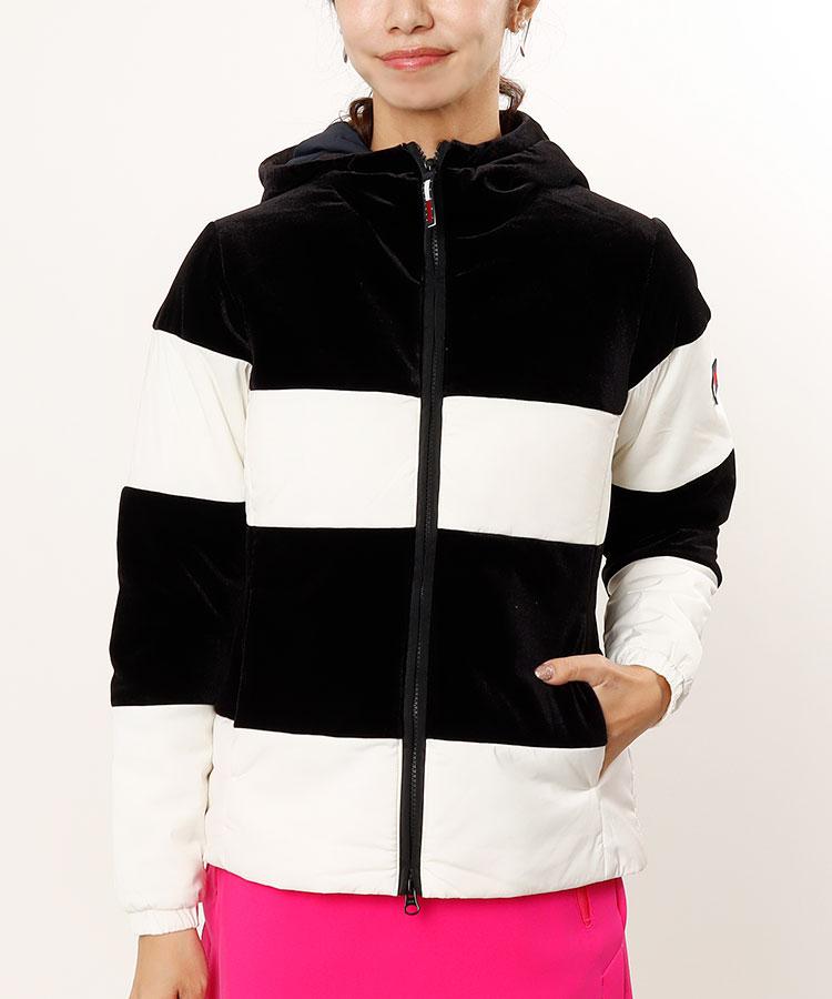 TH ベロアボーダー◆中綿フード付きジャケット
