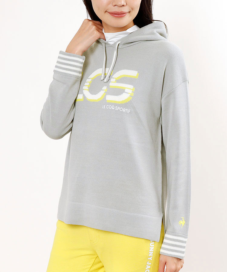 LQ ロゴ編み◆フード付きニット