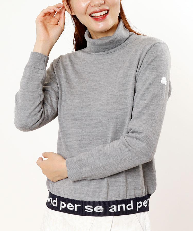 AP 裾ジャガードロゴ◆ハイネックセーター