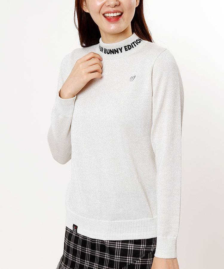 MB キラキラ★neckロゴモックネックセーター