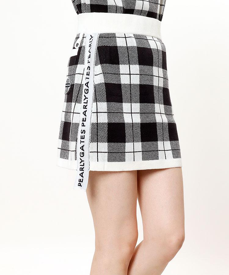PG サイドロゴ♪チェック柄ニットスカート