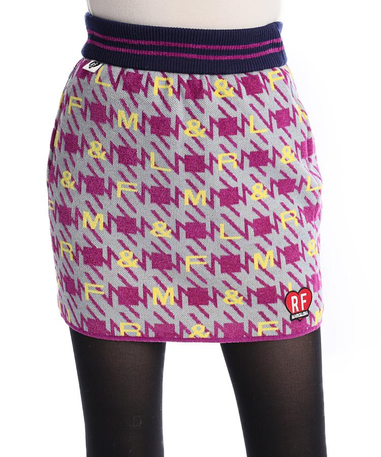 ML [RICH&FAMOUS]変形千鳥格子×ロゴ◆ニットスカート